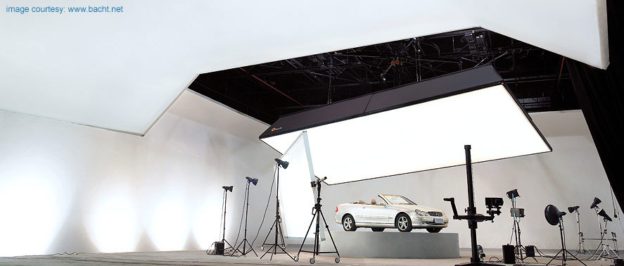 broncolor and bacht products in use in a studio